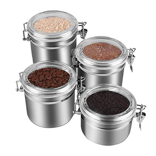 4-Piece Stainless Steel Airtight Canister Set, Beautiful Food Storage Container for Kitchen Counter, Tea, Sugar, Coffee, Caddy, Flour Canister with Clear Acrylic Lid n' Locking Clamp Up to 65 oz by ENLOY