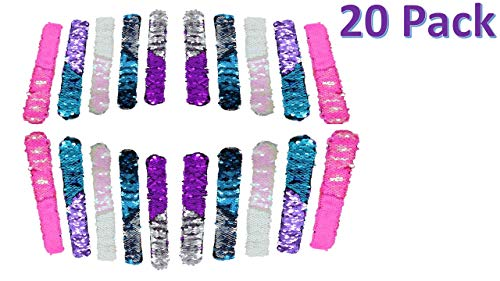 GSM Brands Mermaid Bracelet - Reversible Sequin - Multi-Color Fashion Party Favor - Velvet Lining - Slap Style - 20 Pack by GSM Brands