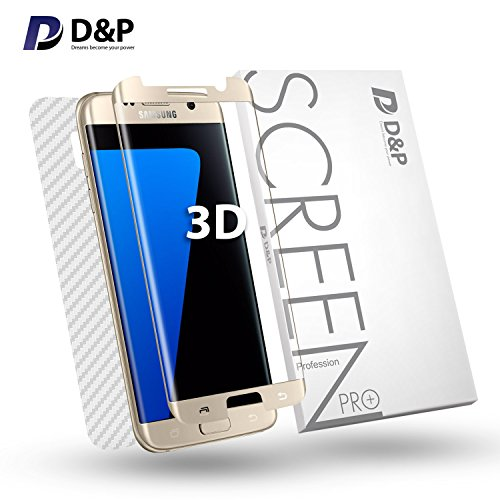 (Galaxy S7 Screen Protector Case Friendly HD Clear 3D Curved Tempered Glass Full Coverage, D&P S7 Edge Screen Protector 9H Alpha Tempered Glass Invisible Front and Back with Install)
