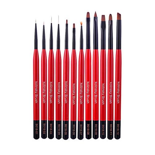 ParadiseB Red Professional Nail Painting Art Pen Nail Tool 12 Flowers PCs/Set Dotting