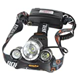 WindFire® 3X CREE XM-L T6 U2 4 Modes Super Bright 5000Lm Headlamp Base Adjustable Bike light with 2 X WindFire 18650 Rechargeable Batteries and USB Cable Powered and Charged by Mobile Power Bank, Computer and Any Other Digital Device with USB Port