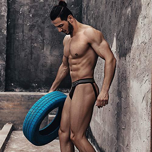 BSHETR Men's Jockstraps Athletic Supporters 4-Pack Cotton Work Out Underwear