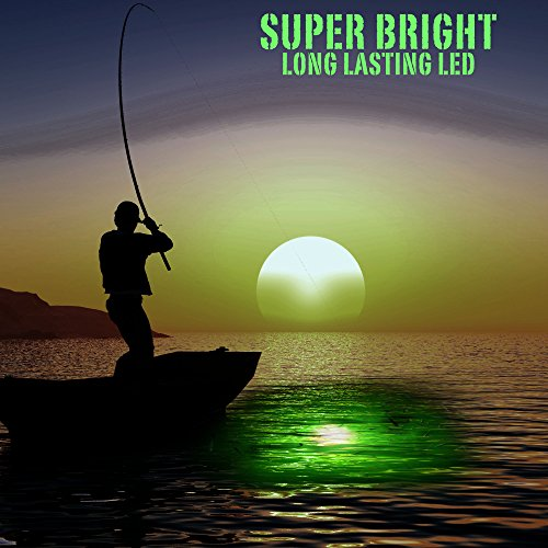 Large Green LED Underwater Night Fishing Light | Incredibly Effective at Attracting predatory Fish | No External Battery Needed like most others