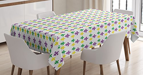Mardi Gras Tablecloth by Ambesonne, Fleur De Lis in Mardi Gras Carnival Colors Ancient Festival Pattern, Dining Room Kitchen Rectangular Table Cover, 60 W X 90 L Inches, Green Yellow Purple - Mardi Gras Ideas