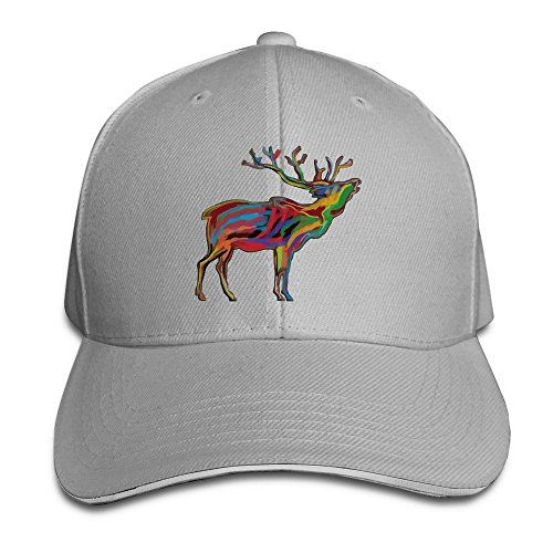 Elk Colorful Clipart Trucker Unisex Adjustable Sandwich Cap Ash