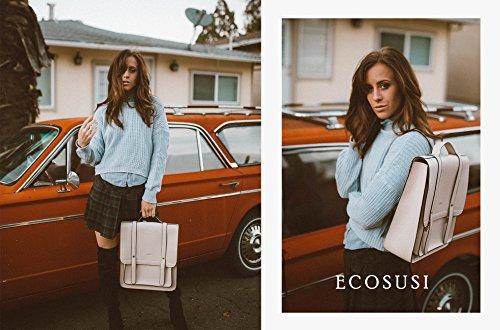 Beige PU ECOSUSI Small Leather Women Backpack Rucksack Satchel Laptop School Purse Soft with qq74U1w