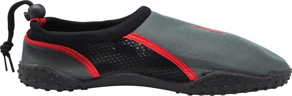 NORTY - Young Mens Skeletoe Aqua Water Shoes Pool Beach, Surf, Snorkeling, Exercise Slip on Sock, Charcoal, Red 40208-8B(M) US by NORTY (Image #3)