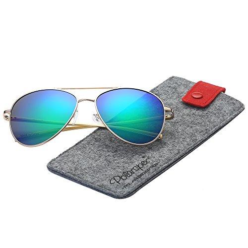 Polarspex Classic Men and Women Polarized Flex Hinge Aluminum Aviator Sunglasses