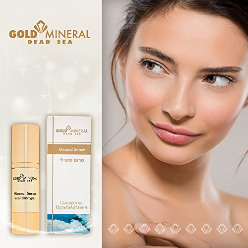 Gold Mineral Dead Sea Mineral Anti Aging Restoring Concentrated Facial Serum with Antioxidants | Essential Oils | Vitamins A, C, E and Dead Sea Minerals Day and Night Repair Treatment for Face and Nec ()