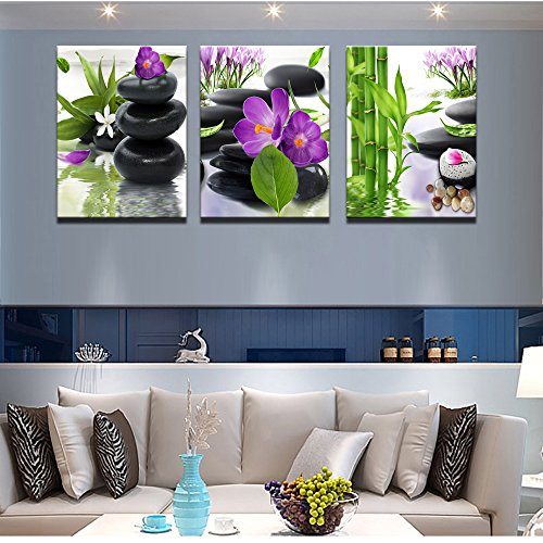 3 Panel Modern Spa Bamboo Zen Stone Purple Flowers Photograph Canvas Painting for Home Wall Decorative by ModeArt (Image #5)
