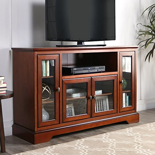 WE Furniture 52″ Wood Highboy Style Tall TV Stand – Rustic Brown