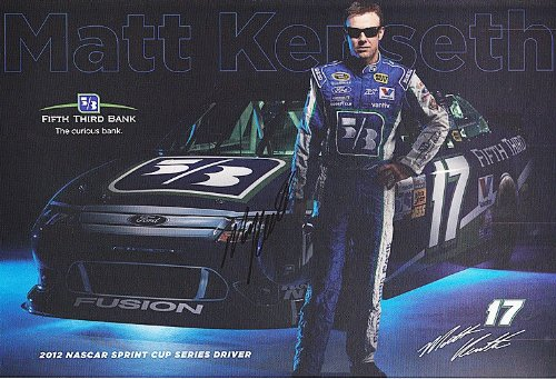 Autographed 2012 Matt Kenseth  17 Fifth Third Bank Racing  Roush  7X11 Nascar Signed Hero Card W  Coa