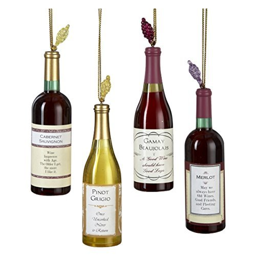 Kurt Adler Acrylic Wine Bottle Christmas Ornaments 4 Assorted (Decorations Christmas Tree Food)