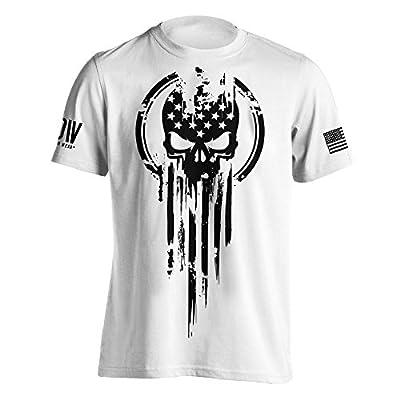 American Warrior Flag Skull Military T-Shirt