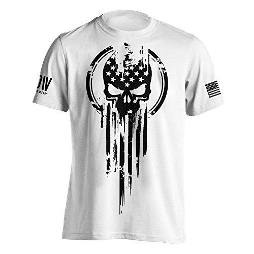 American Warrior Flag Skull Military T-Shirt X-Large White