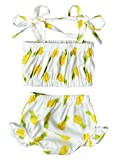 Toddler Baby Girls Floral Two-Pieces Halter Tankini Swimsuit Ruffles Bikini Swimwear Size 6-12Month/Tag80 (Yellow)