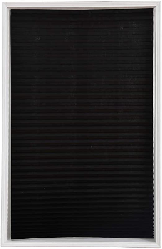 VOSAREA Cortinas de Plisadas con Soporte Adhesiva Opacas Negra para Ventana o Puerta de Baño Cocina Balcón (60x150cm): Amazon.es: Hogar