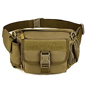 Multi Functional Waist Pack, WOTOW Military Single Shoulder Hip Belt Bag Fanny Packs Water Resistant Waist Bag Pouch Hiking Climbing Outdoor Bumbag with Water Bottle Pocket Holder (Brown)