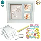Baby Gifts - Hand and Footprint Kit – Picture Frame with Non-Toxic Clay and Monthly Milestone Stickers Included – Perfect Newborn Shower Gift for Boys & Girls