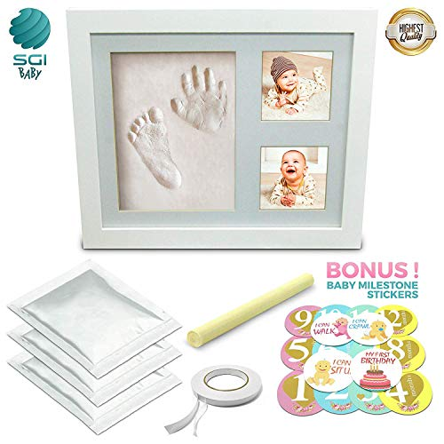Baby Gifts – Hand and Footprint Kit – Picture Frame with Non-Toxic Clay and Monthly Milestone Stickers Included – Perfect Newborn Shower Gift for Boys & Girls