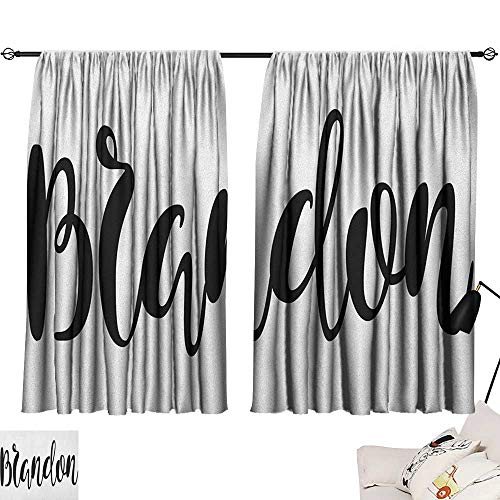Warm Family Brandon Insulated Sunshade Curtain Widespread Name Design with Monochrome Artistic Letters Cursive Font Pattern Noise Reducing 63