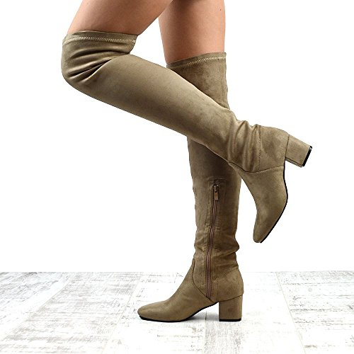 Heel Thigh The Suede Knee Essex Womens Taupe High Faux Faux Glam Stretch Suede Low Boots Over wqAqvtxY