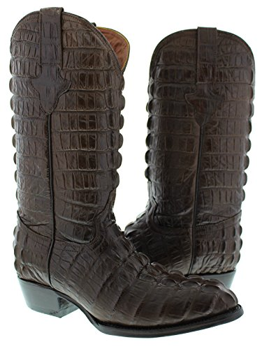 El Presidente - Men's Brown Full Crocodile Tail Print Cowboy Boots Round Toe 12.5 D(M) US