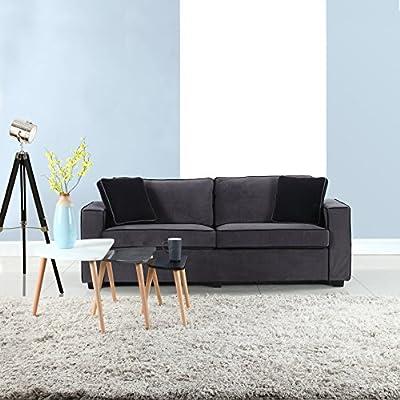 Divano Roma Furniture Modern Two Tone Colorful Velvet Fabric Living Room Sofa