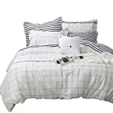 Tealp White Grid Duvet Cover Set,3 Piece 100% Cotton, Simple Style Lightweight Bedding Collection-White,King