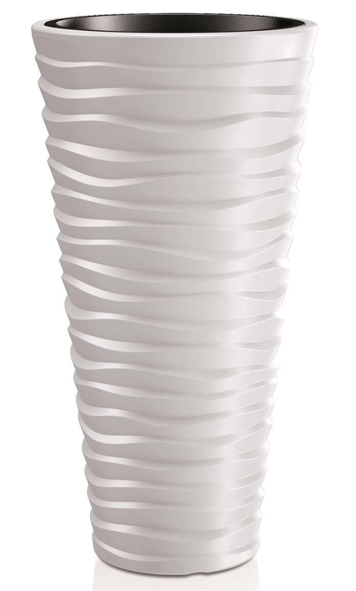 39 x 75 cm Aus robustem Kunststoff in Alpinwei/ß Kreher XXL Pflanztopf der in moderner Wellen Optik mit herausnehmbaren Einsatz Ma/ße /Ø x H in cm