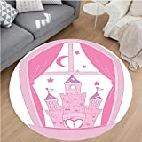 Nalahome Modern Flannel Microfiber Non-Slip Machine Washable Round Area Rug-cess Castle Night Sky Stars Moon Palace Royalty Love Window Cartoon Design Pink and White area rugs Home Decor-Round 79''