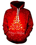 Product review for Chiclook Cool Unisex Hipster Christmas Tree Digital Print Hoodie Design Pullover Sweatshirt Tracksuit Hip Hop Streetwear