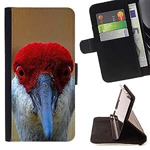 BullDog Case - FOR/Sony Xperia Z3 D6603 / - / funny red bird beak eyes tropical feather /- Monedero de cuero de la PU Llevar cubierta de la caja con el ID Credit Card Slots Flip funda de cuer