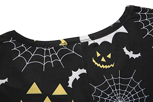 3f32d1a8c Aphratti Women's Long Sleeve Halloween Costumes Casual Flare Swing Dress  Scary Bats Medium