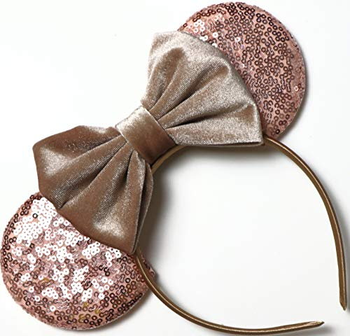 CLGIFT Rose gold Minnie Ears,Pick your color, Iridescent Minnie Ears, Silver gold blue minnie ears, Rainbow Sparkle Mouse Ears,Classic Red Sequin Minnie Ears (Velvet Tan) -
