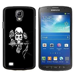Eason Shop / Premium SLIM PC / Aliminium Casa Carcasa Funda Case Bandera Cover - Cráneo negro y blanco floral Rose - For Samsung Galaxy S4 Active i9295