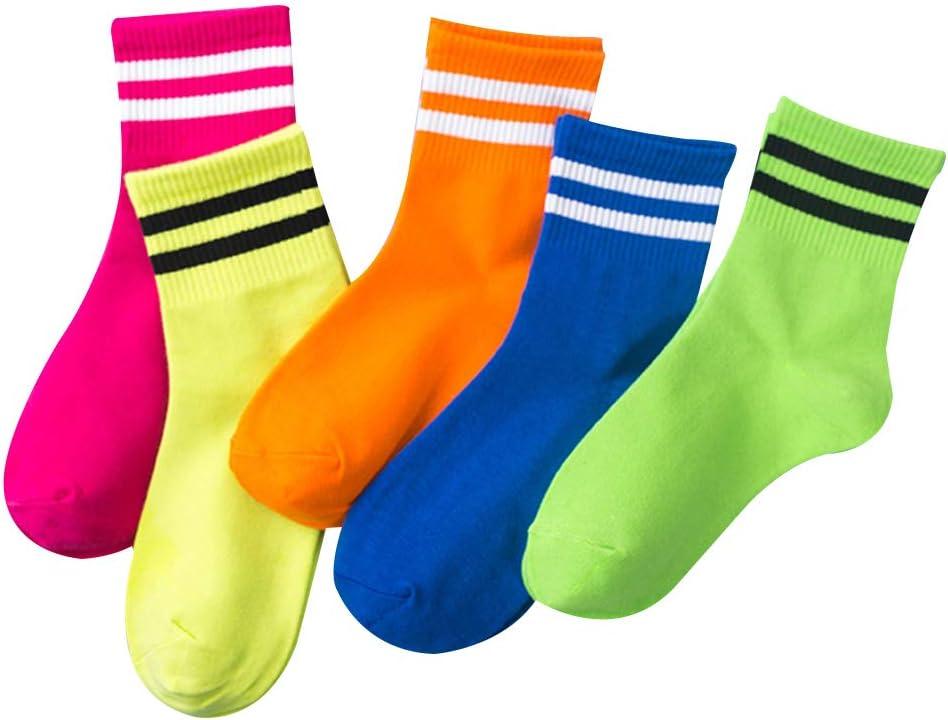 VAILANG 5 par//Set Adultos Calcetines Tobilleros de algod/ón de Corte bajo Calcetines Deportivos Retro Fluorescentes