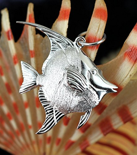 Sterling Silver Rhodium Plated 3D Moorish Idol Fish Pendant Necklace ()