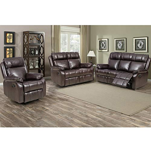 - 9TRADING Loveseat Chaise Reclining Couch Recliner Sofa Chair Leather Accent Chair Set SFABC, Brown