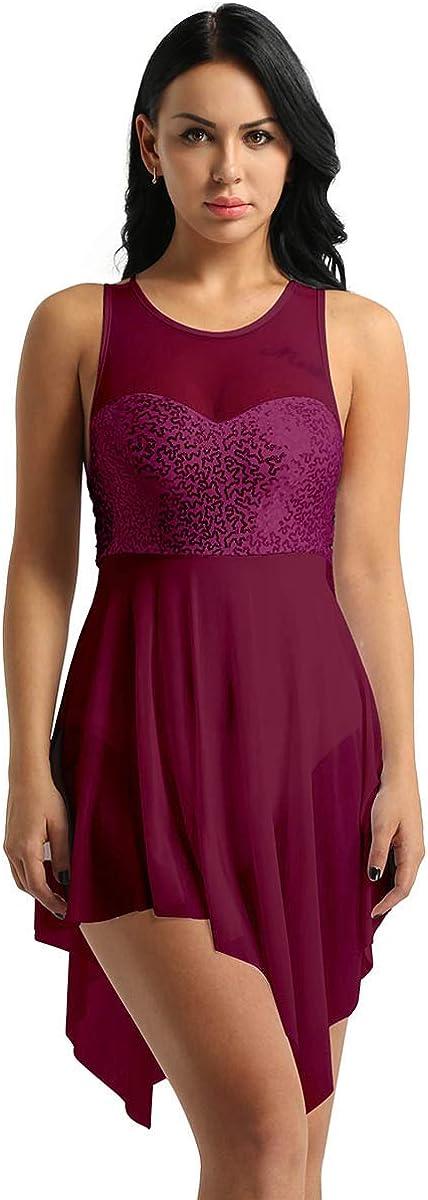 moily Womens Sleeveless Lyrical Dance Dress Leotard Shiny Sequins Ballet Dance Dresses Bodysuit