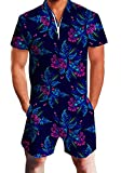 Goodstoworld Mens Romper Suits 3D Tropical Flowers Print Zip up Jumpsuit Summer Grandad Shirt Cargo Shorts Overalls for Men L