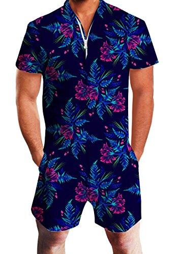 Goodstoworld Mens Romper Suits 3D Tropical Flowers Print Zip up Jumpsuit Summer Grandad Shirt Cargo Shorts Overalls for Men L by Goodstoworld