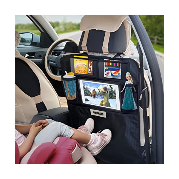 Aomaso Kick Mat With Multi Pocket Organizer Seat Back Covers For Car SUV Minivan Or Truck Seats Auto Accessory And Protector For Kids