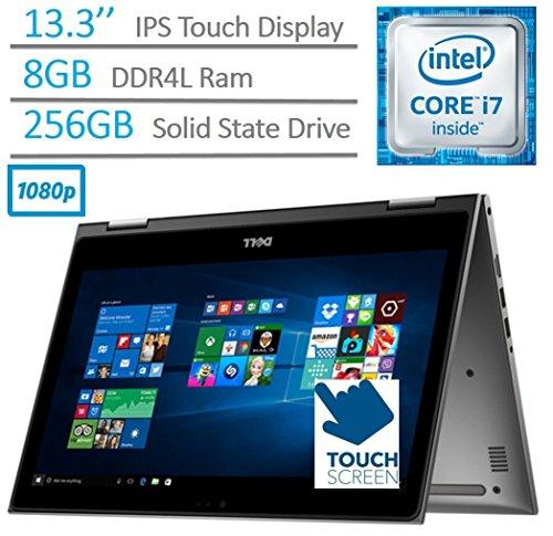 2017 Dell Inspiron 2-in-1 13.3-Inch Full HD Touchscreen Flagship Laptop PC, Intel Core i7-6500U 2.5GHz, 8GB DDR4, 256GB SSD, Backlit Keyboard, WIFI, Bluetooth, HDMI, Windows 10, Gray