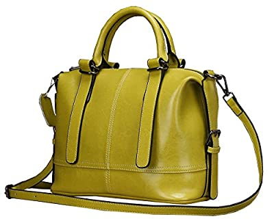 Heshe New Office Lady Genuine Leather Luxury Simple Style Fashion Candy Color Tote Top Handle Crossbody Shoulder Bag Satchel Purse Women's Handbag for Summmer