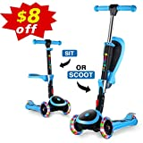 OUTON Scooter for Kids with Folding Seat, 2-in-1 Adjustable 3 Wheel Kick Scooter for Toddlers Girls & Boys, PU Flashing Wheels for Children from 2 to 14 Years Old