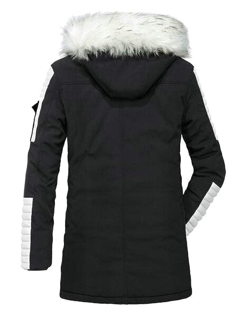 Pivaconis Mens Thicken Winter Warm Fur Collar Coats Outdoorwear Jackets