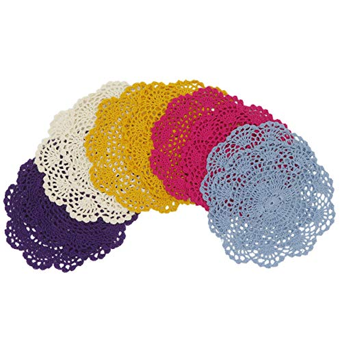 (DODOGA 10pcs Table Place Mats Placemats for Kitchen Coasters Doilies Round Handmade Crochet Cotton Lace Glass Bowl Dish Dining Table Mats 8 Inch)