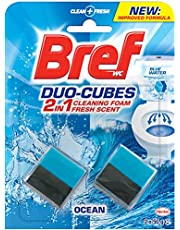 Bref Duo Cubes Original, 2in1 formula, In Cistern Toilet Tank Cleaner and deodoriser, Blue Water effect, 2x50g