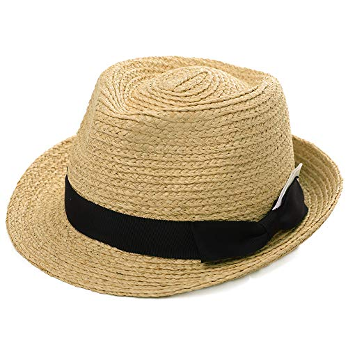 - Womens Mens Raffia Straw Fedora Brim Panama Beach Crushable Packable Havana Summer Sun Hat Party Ladies Beige